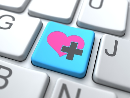Social Media Concept.Online Love Button on Keyboard. Stock Photo - 12953433