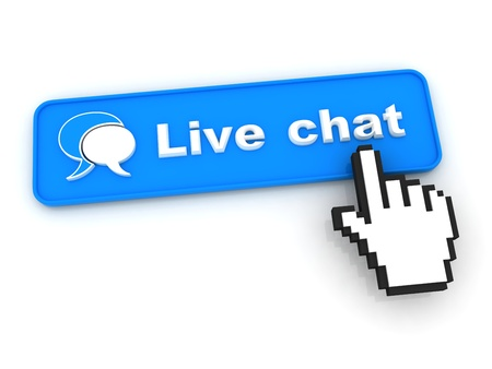 chat bubble: Live Chat Button with  Hand Shaped mouse Cursor