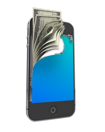 Smart Phone with Money. Mobile Payment Concept. photo