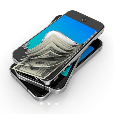 money transfer: Smart Phone with Money. Mobile Payment Concept. Stock Photo