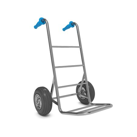 Empty Hand Truck on White Background. Free Shipping Concept. photo