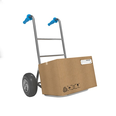 Hand Truck with Box on White Background. Free Shipping Concept. photo