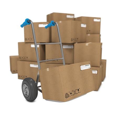 product box: Camion a mano con diverse scatole sullo sfondo.