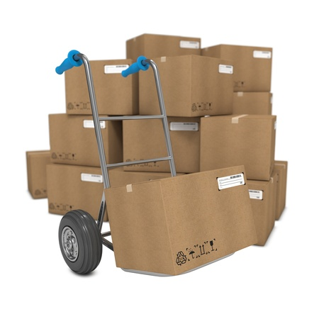 hand move: Hand Truck with Several Boxes on Background.