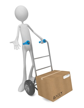 3d Human Moving the Hand Truck with Box photo