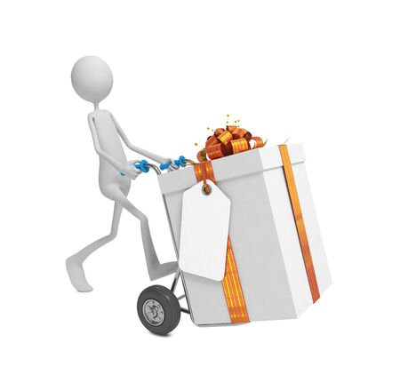 3d Human Moving the Gift Box with Label and Ribbon Bow on Hand Truck. photo