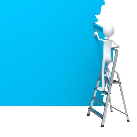 pintora: Permanente Pintor Trabajador en la Escalera Pinta una pared.