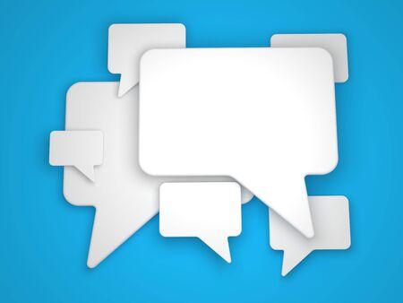 Blank Speech Bubble on Blue Background Stock Photo - 14851185