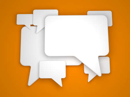 Blank Speech Bubble on Orange Background photo
