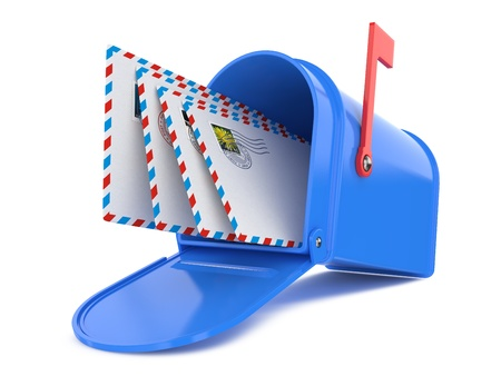 e mail: Blue Mailbox with Mails