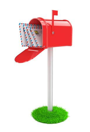 await: Red Mailbox with Mails