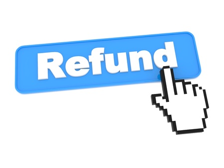 tax return: Social Media Button - Refund. Isolated on White Background.