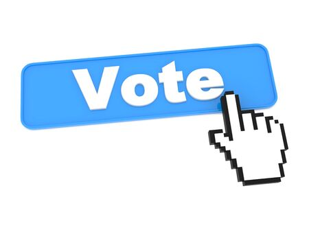 Blue Vote Button or Switch on White Background  Stock Photo - 15313482