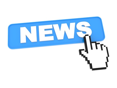 Hand-Shaped Mouse Cursor Press News Button  Stock Photo - 15313512