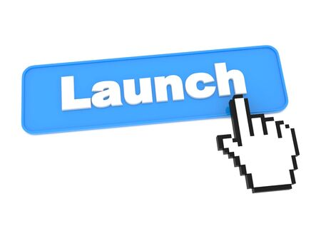 execute: Social Media Button - Launch. Isolated on White Background.