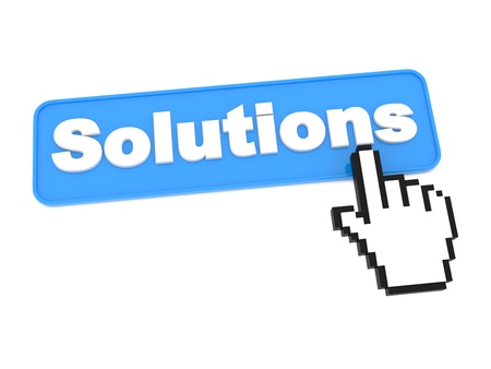 Social Media Button - Solutions. Isolated on White Background. photo