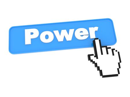 Hand Press Power Button on White Background. Stock Photo - 15313488