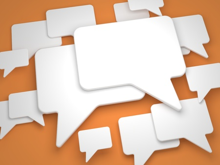 Blank Speech Bubble on Orange Background  Stock Photo - 15328527