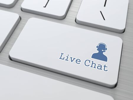 Live Chat Button on Modern Computer Keyboard  photo