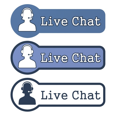 chat online: Website Element   Live Chat  Stock Photo
