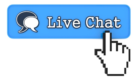 Live Chat Button with  Hand Shaped mouse Cursor photo