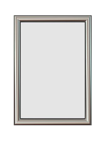 silver picture frame: Vertical Metal Frame Isolated on White