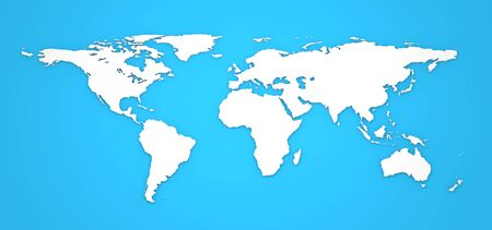 3D World Map on Blue Background  photo