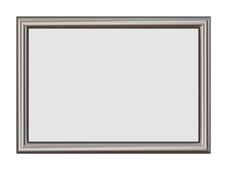 brushed steel: Horizontal Metal Frame Isolated on White  Stock Photo