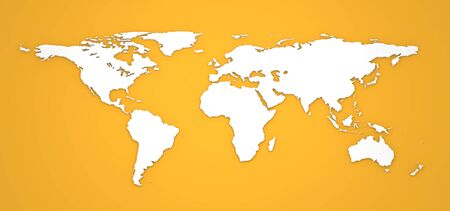 3D World Map on Orange Background  photo