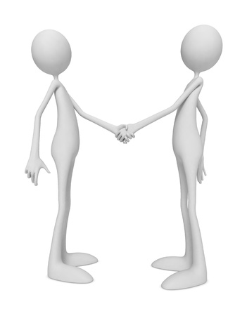 handclasp: 3D Little Human Characters Shaking Hands  Stock Photo