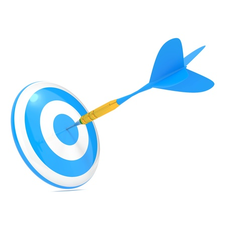 goal achievement: Dart Hitting a Target, Isolated On White  Stock Photo