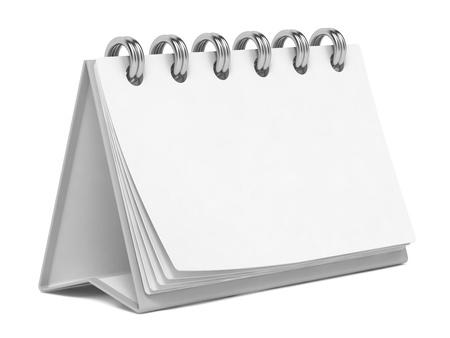 Blank Desktop Calendar Isolated on White Background. Stock Photo