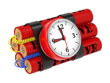 detonator: Dynamite Bomb with Clock Timer. Isolated on White.
