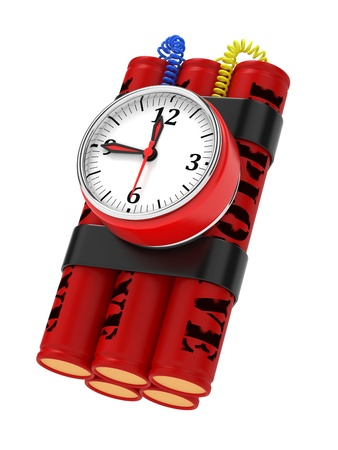 Dynamite Bomb with Clock Timer. Isolated on White. Stock Photo - 15880787