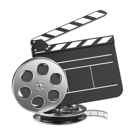 Clapboard and Film Reel, Setting Next to Each Other  On white Background  photo