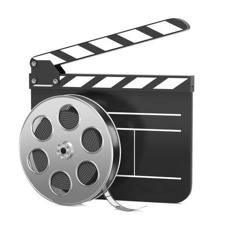 slate film: Clapboard and Film Reel, Setting Next to Each Other  On white Background