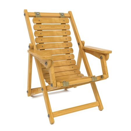 beach side: Wooden Folding Deckchair  Isolated on White Background  Stock Photo