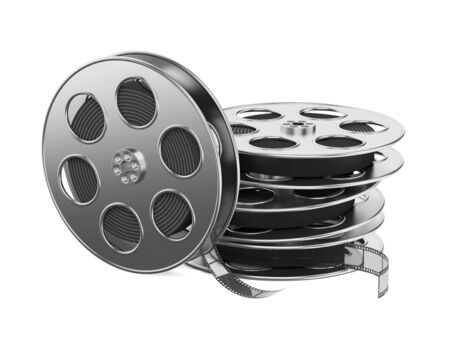 Clapboard and Film Reel, Setting Next to Each Other  On white Background Stock Photo - 15938259