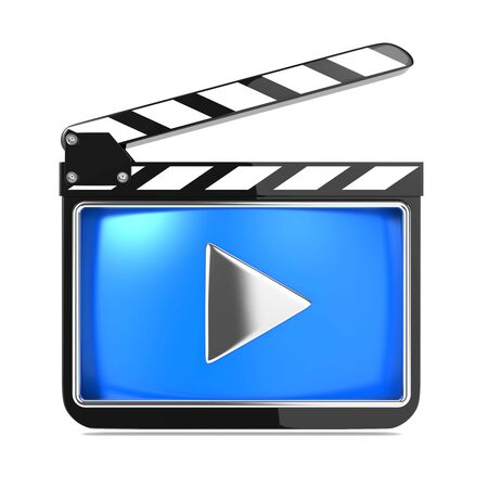 Clapboard Icon with Blue Screen  Media Player Concept  photo
