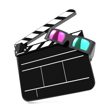 Clapboard with Anaglyph Glasses and Film Reel  Setting Next to Each Other  On white Background Stock Photo - 15938271