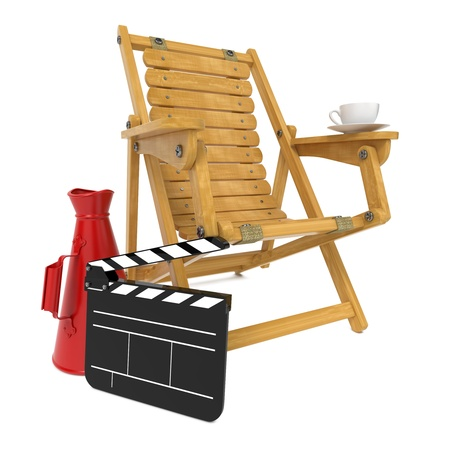 Director s Chair with Clap Board and Red Megaphone  Stock Photo - 15938256