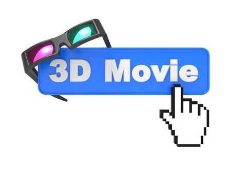 anaglyph: Web Button  3D Movie  with Cursor and Anaglyph Glasses  3D movie Concept