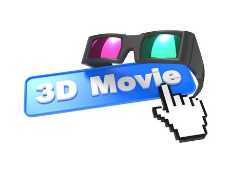 Web Button  3D Movie  with Cursor and Anaglyph Glasses  3D movie Concept  photo