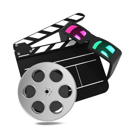 Clapboard with Anaglyph Glasses and Film Reel  Setting Next to Each Other  On white Background Stock Photo - 15938255