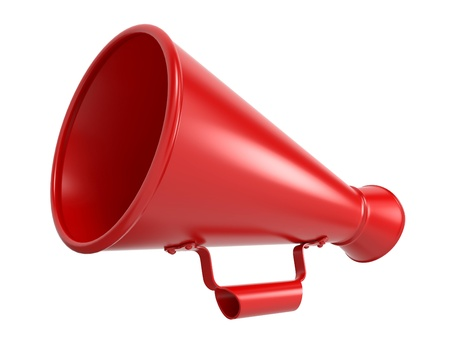 amplify: Red Megaphone or Bullhorn Isolated on White