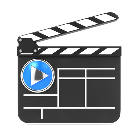 Clapboard Icon with Blue Screen  Media Player Concept Stock Photo - 15938243