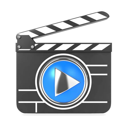Clapboard Icon with Blue Screen  Media Player Concept Stock Photo - 15938252