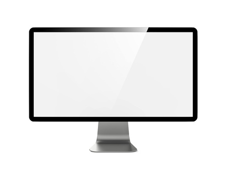 Modern 4k Widescreen Lcd Monitor  Isolated on White  photo