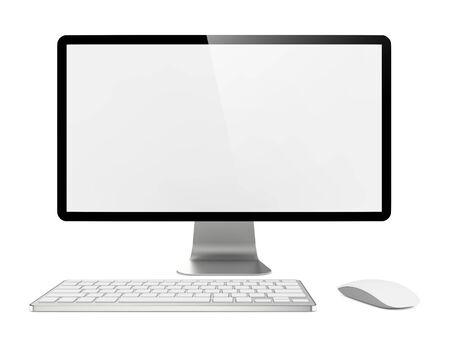 liquid crystal display: Blank White Screen Computer Monitor with Mouse and Keyboard