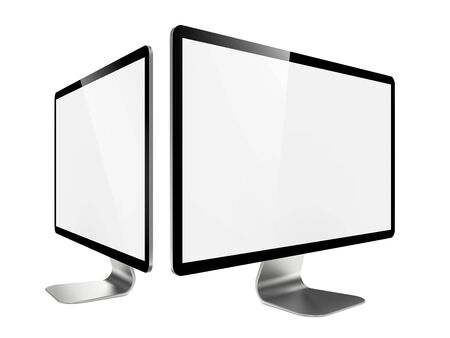 Two Modern Widescreen Lcd Monitor  On White Background  photo